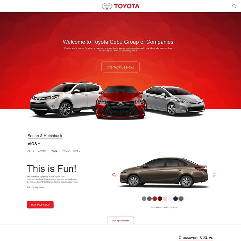 Toyota website homepage design